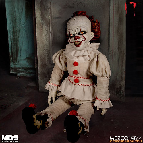 "MEZCO TOYZ 18"" MEGA SCALE IT PENNYWISE DOLL ROTO PLUSH"