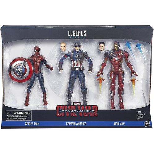 MARVEL LEGENDS CIVIL WAR CAPTAIN AMERICA IRON MAN SPIDER-MAN 3 PACK