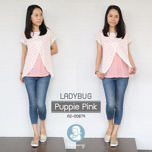 Ladybug (Puppie Pink)  - เสื้อให้นม แบบแหวก