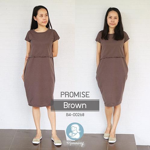 Promise (Brown)  -  ชุดให้นม แบบเปิดหน้า
