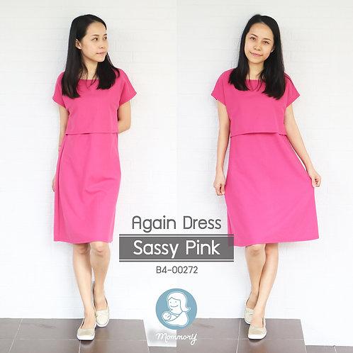 Again Dress (Sassy Pink) -  ชุดให้นม แบบเปิดหน้า