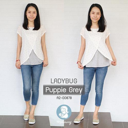 Ladybug (Puppie Grey) - เสื้อให้นม แบบแหวก