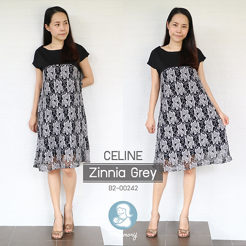 Celine (Zinnia Grey) - ชุดให้นมแบบซิปซ่อน : 690 THB