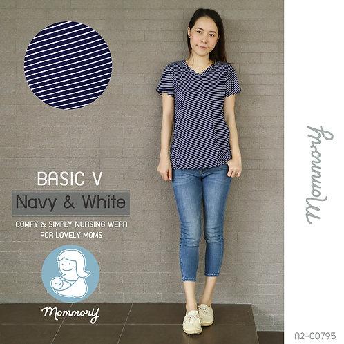 Basic V (Navy & White) - เสื้อให้นม แบบแหวกข้าง