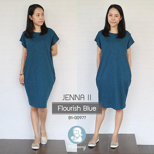 Jenna II (Flourish Blue) - เสื้อให้นม/ชุดให้นม แบบแหวก