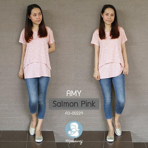 Amy (Salmon Pink) - เสื้อให้นม แบบเปิดหน้า