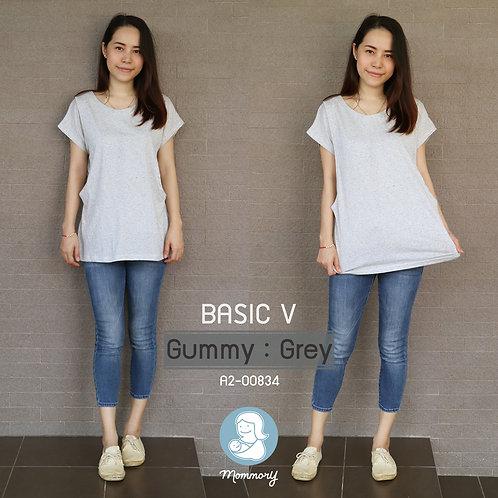 Basic V (Gummy : Grey) - เสื้อให้นม แบบแหวกข้าง