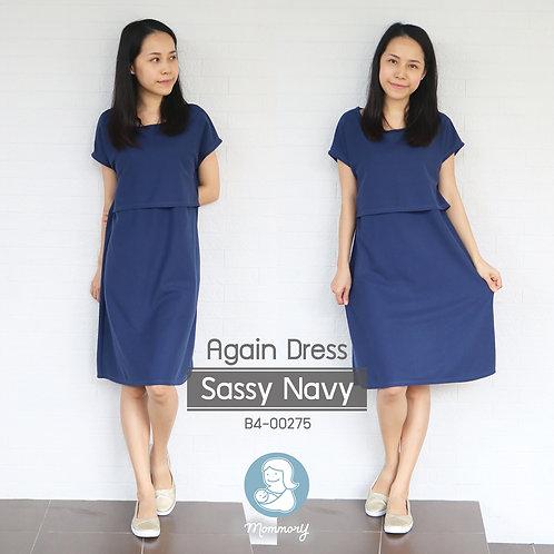 Again Dress (Sassy Navy) -  ชุดให้นม แบบเปิดหน้า