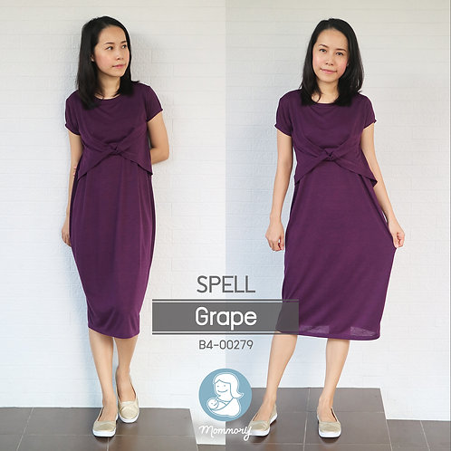 Spell Dress (Grape) -  ชุดให้นม แบบเปิดหน้า