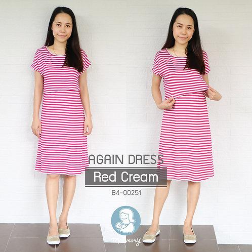 Again Dress (Red Cream) -  ชุดให้นม แบบเปิดหน้า