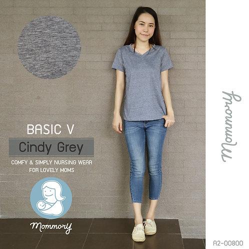 Basic V (Cindy Grey) - เสื้อให้นม แบบแหวกข้าง