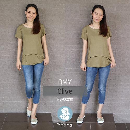 Amy (Olive) - เสื้อให้นม แบบเปิดหน้า