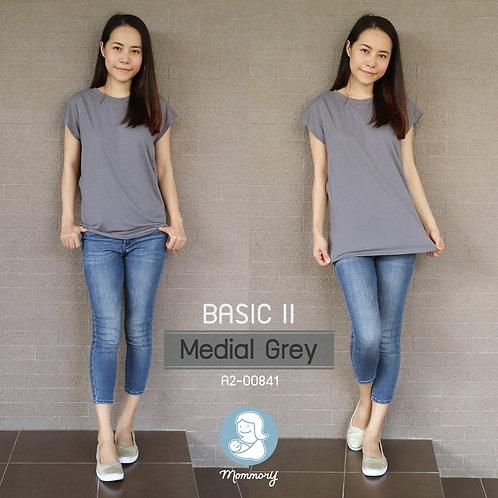 Basic II (Medial Grey) - เสื้อให้นม แบบแหวกข้าง