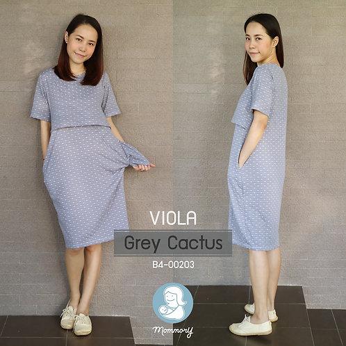 Viola (Grey Cactus) -  ชุดให้นม แบบเปิดหน้า