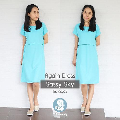 Again Dress (Sassy Sky) -  ชุดให้นม แบบเปิดหน้า