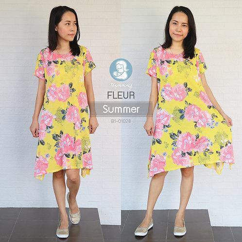 Fleur (Summer) เสื้อให้นม ตัวยาว ให้นมแบบแหวกด้านข้าง