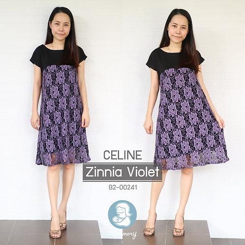 Celine (Zinnia Violet) - ชุดให้นมแบบซิปซ่อน : 690 THB