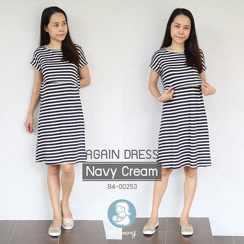 Again Dress (Navy Cream) -  ชุดให้นม แบบเปิดหน้า