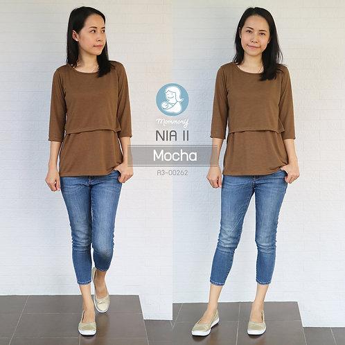 Nia II (Mocha) - เสื้อให้นม แบบเปิดหน้า