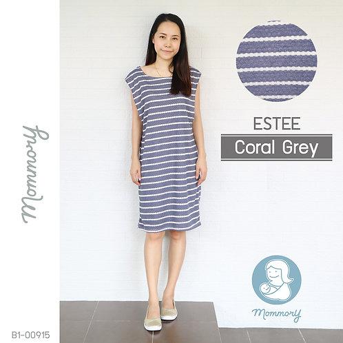 Estee (Coral Grey) - เสื้อให้นม/ชุดให้นม แบบแหวก