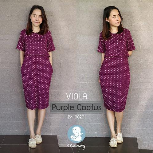 Viola (Purple Cactus) -  ชุดให้นม แบบเปิดหน้า