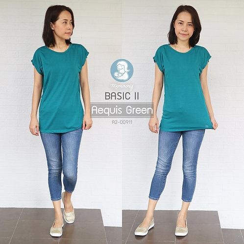 Basic II (Aequis Green) - เสื้อให้นม แบบแหวกข้าง