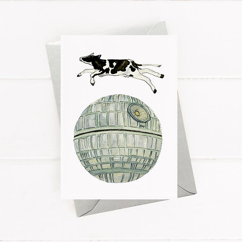 Cow Jumping over Death Star - Greeting Card
