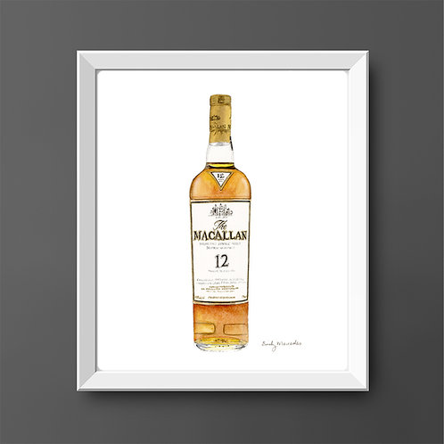 The Macallan 12 Year Scotch Whisky Bottle *ORIGINAL PAINTING*