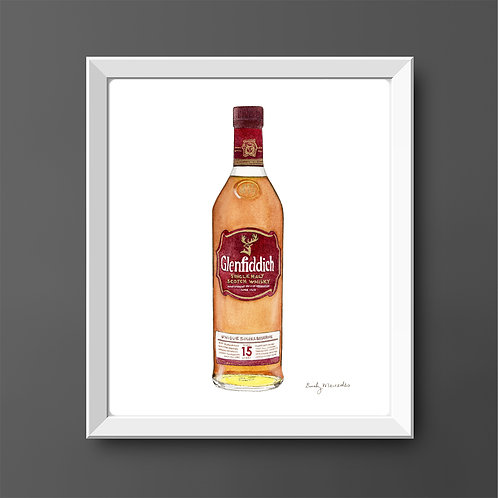 Glenfiddich 15 Year Scotch Whisky Bottle *ORIGINAL PAINTING*