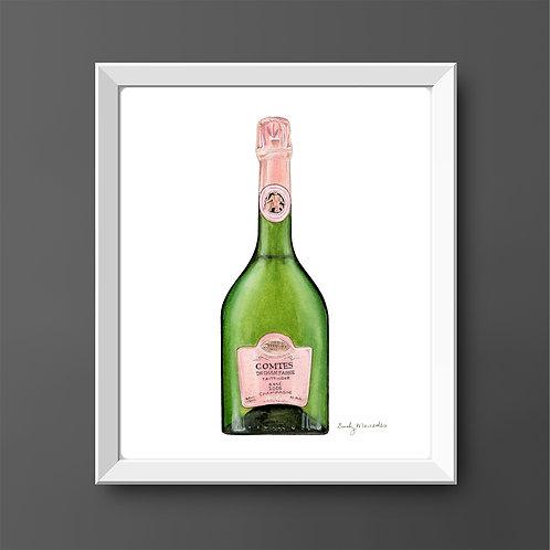 Taittinger Comtes De Champagne Rosé Bottle *ORIGINAL PAINTING*