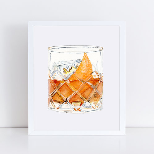 Old Fashioned Cocktail with Orange Peel