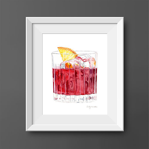 Negroni Cocktail *Original Painting*