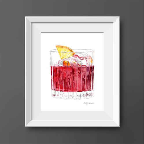 Negroni Cocktail *Original Painting*