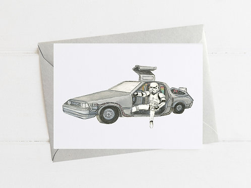 Stormtrooper in a DeLorean - Greeting Card