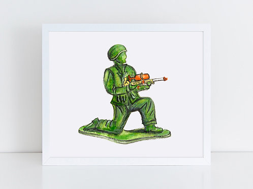 Army Man with Super Soaker Gun