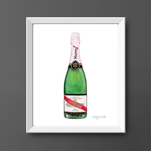 G.H. Mumm Rosé Champagne Bottle *ORIGINAL PAINTING*