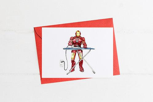 Iron Man Ironing - Greeting Card