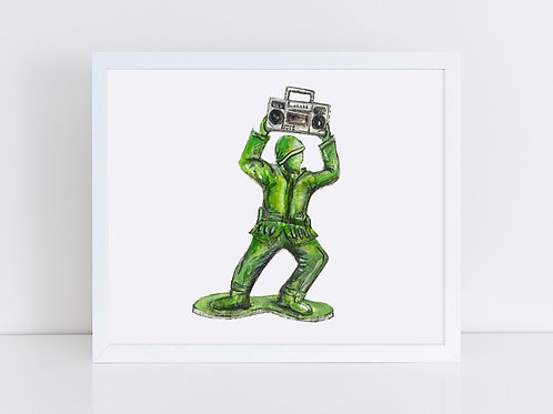 Army Man with Boombox