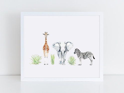 Giraffe, Elephant & Zebra