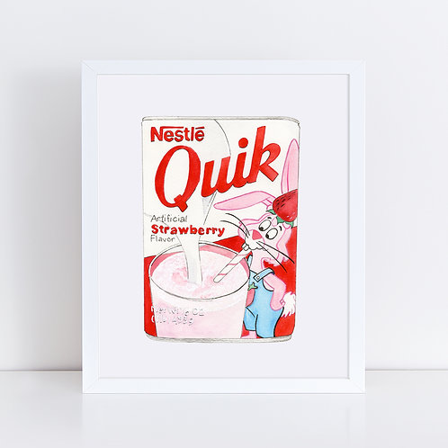 Strawberry Nestlé Quik *ORIGINAL PAINTING*