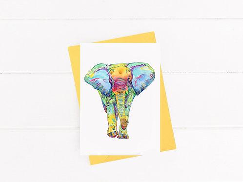 Colorful Elephant - Greeting Card