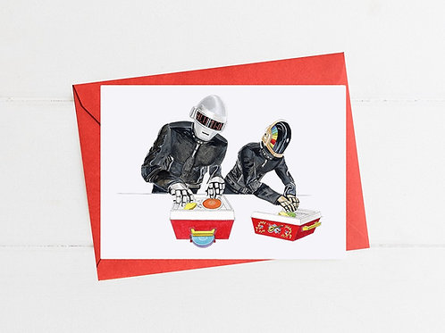Daft Punk DJing on Fisher Price Record Players - Greeting Card