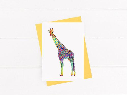 Colorful Giraffe - Greeting Card