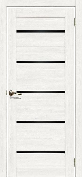"""межкомнатная дверь S-1 (стекло """"чёрный Локабель"""") (Ясень, лист. крем., дуб дым.,"""