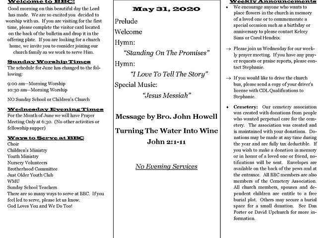 Church Bulletin May 31 2020  new design.