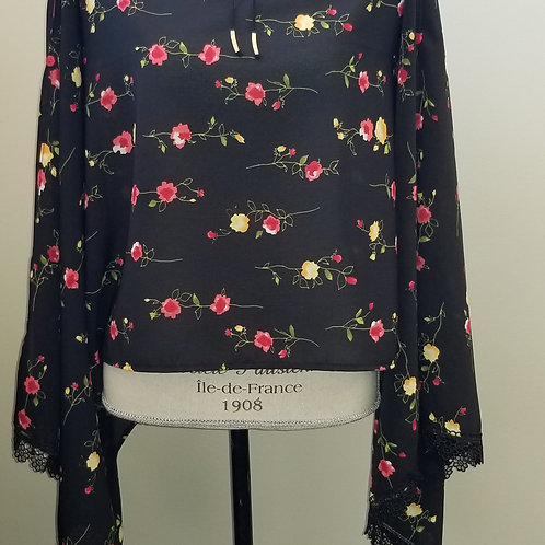 Black Floral with Delicate Lace Wrap