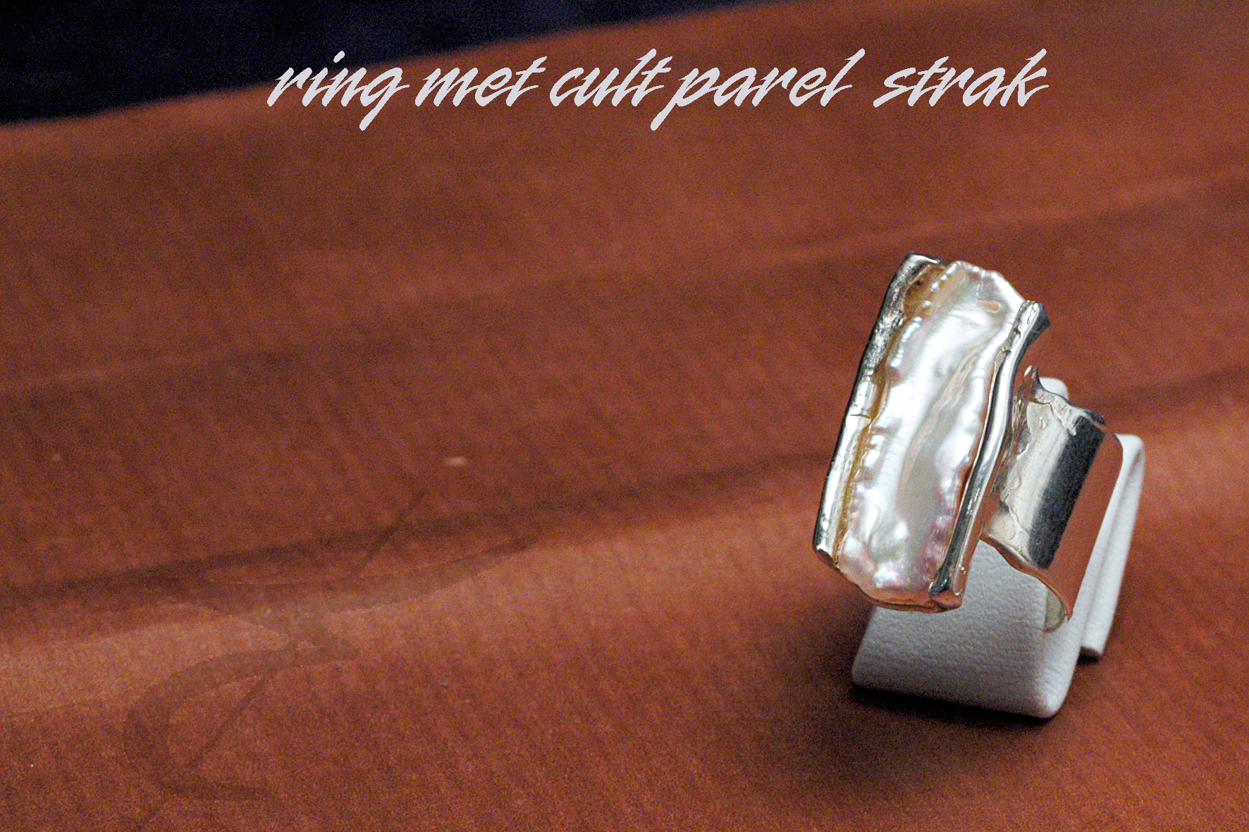 925 gietwerk VR 03 ring cult parel strak