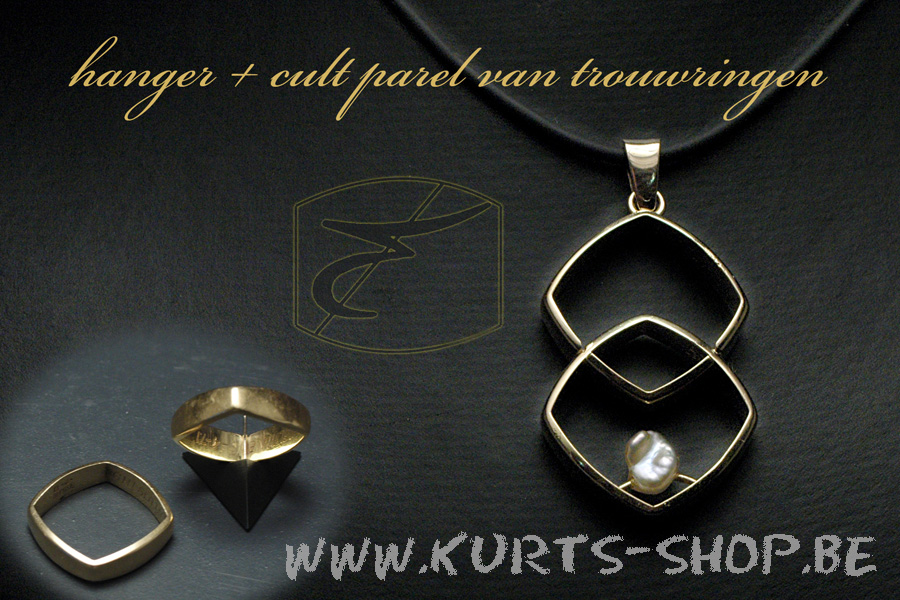 750 oud goud hanger+parel van vierkante trouwringen