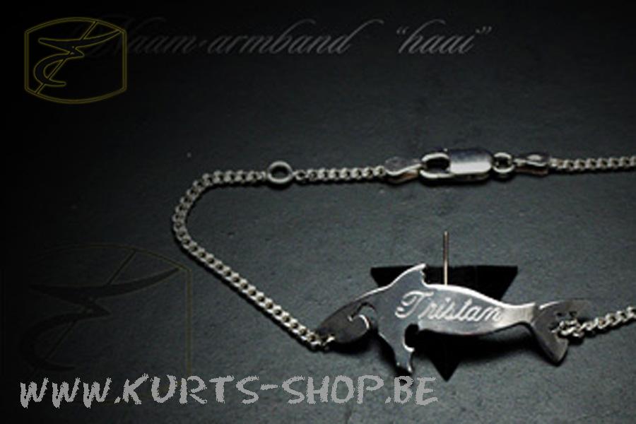 925 naamarmband haai