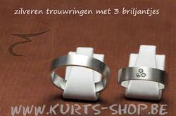925 duo-ringen bianca met briljantjes